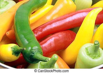 organisch, geassorteerd, pepers
