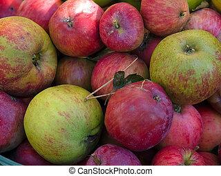 organisch, gezonde , -, voedingsmiddelen, appeltjes , fris, ...