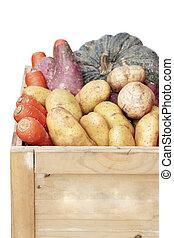 organisch, groentes, krat