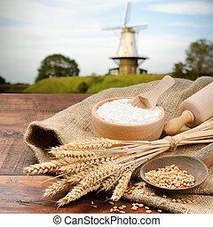 organisch, ingredienten, voor, brood, voorbereiding