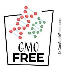 organisch, kosteloos, natuurlijke , product, pictogram, gmo, vrijstaand, voedingsmiddelen