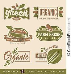 organisch, natuurlijke , voedingsmiddelen, etiketten, en, stickers, verzameling
