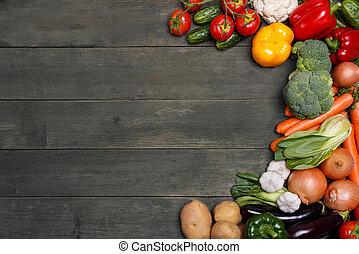 organisch, ruimte, groentes, text., voedsel., hout, achtergrond