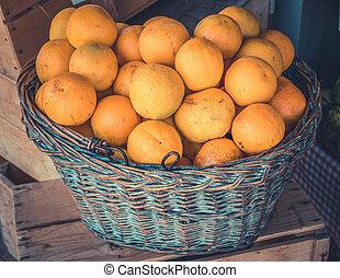 organisch, sinaasappel, in, een, mand