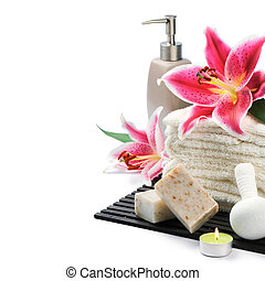 organisch, vatting, spa, handdoeken, lelie, zeep