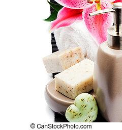 organisch, zeep, en, baddoek