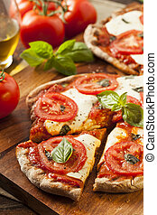 organisch, zelfgemaakt, margarita, pizza