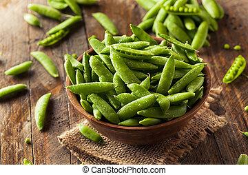organische , grün, zucker, schnellerbsen