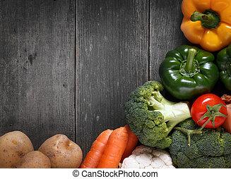 organische , raum, gemuese, text., essen., holz, hintergrund