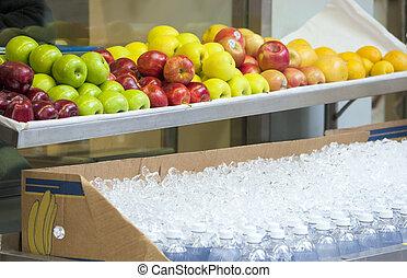 organisches essen, auf, bankschalter, draußen
