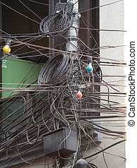 Organised Chaos - A mess of cabling in Kathmandu