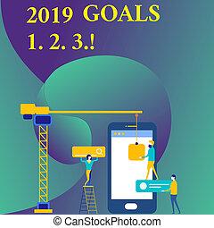 organiser, commencements, plans., texte, projection, signe, 1, 2, 2019, buts, photo, conceptuel, avenir, résolution, 3.