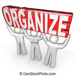 organiser, mot, aide, obtenir, gens, organisé, ascenseur,...