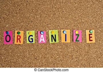 organiser, mot