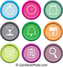 organiser round icon sets - suitable for user interface