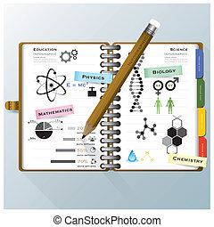 organiser, science, cahier, infographic, conception, gabarit, education