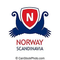organiserer, scandinavia, cruises, farve, flag., rejse, -, norvegian, selskab, hav, logo, emblem, norge, national