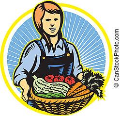 organisk, bonde, lantgård framställ, skörd, retro