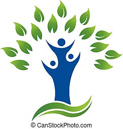 organisk, folk, træ, miljø, grønne, logo