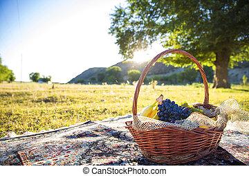 organisk, frukt, in, korg