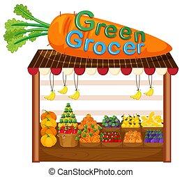 organisk, frukt, och, grönsak, lager