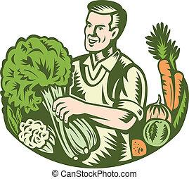 organisk, grönsaken, specerihandlare, grön, retro, bonde
