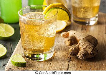 organisk, ingefära ale, soda