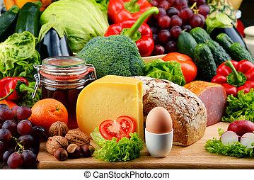 organisk, Kött, mat, grönsaken, frukt, inklusive, Mejeri,  bread