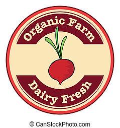 organisk, løg, agerjord, mejeri, logo, frisk