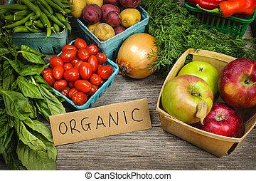 organisk, marknaden, frukter och vegetables