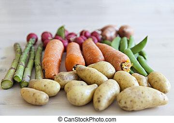 organisk, trädgård, grönsaken
