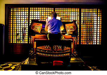 Organist Playing a Organ - Close up Wiew of a Organist...