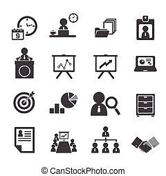 organização, e, negócio, gerência, ícone, jogo