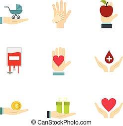 organizações, símbolo, jogo, fundraising, ícones