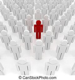 organización, 3d, multitud, hombre de negocios