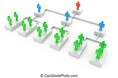 organización, hombres de negocios, gráfico