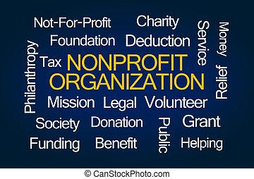 organización, nonprofit, palabra, nube