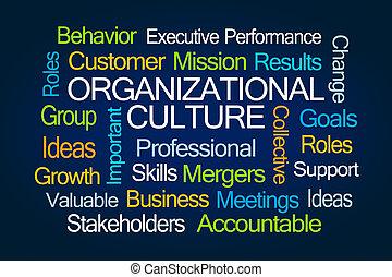 organizacional, cultura, palavra, nuvem