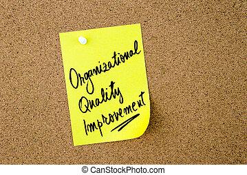 organizacional, qualidade, melhoria, escrito, ligado, amarela, nota papel