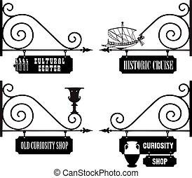 organizacje, kulturalny, ulica, historyczny, signage