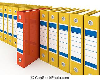 organizado, escritório, pastas