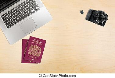 organizado, escrivaninha, pronto, para, viagem