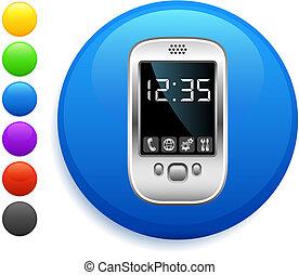 organizador, ícone, ligado, redondo, internet, botão