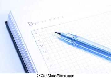organizador, com, caneta