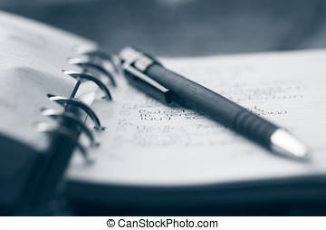 organizador, e, caneta