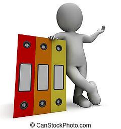 organizar, escriturário, mostrando, organizado, registros