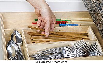 organizar, gaveta, cozinha