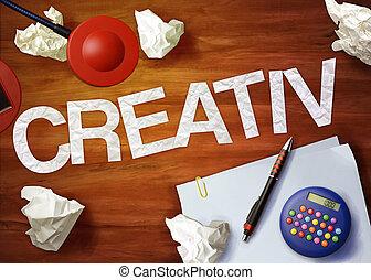organizar, oficina, memorándum, escritorio, creativ, pensar...