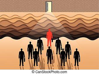 organization., obstáculo, meta, ser, homens negócios, lata, ultimate, penhascos, success., abertos, muitos, difficult., front., porta, sucesso, organização, competir