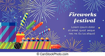 Organization of Fireworks Festival. Pyrotechnic Set -...